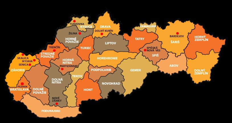 Mapa regiónov na Slovensku